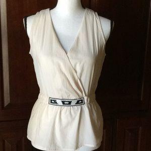 Calvin Klein sleeveless blouse beaded waist S/P